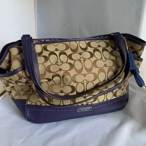 "Coach signature ""Carrie"" canvas & leather tote"